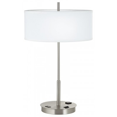 Model 88inch Metal Tech Table Lamp In Brushed Steel Includes 1 USB Port