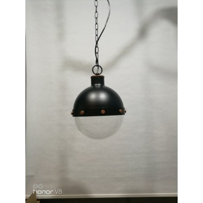 Glass Globe Pendant Lamp with Round Glass Shade