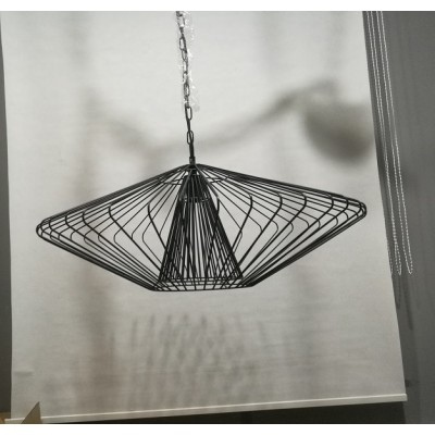 Black Wire Pendant Lamp Polygon Squat Pendant