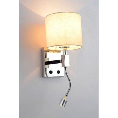 Hotel Headboard Wall Lamp with Gooseneck Reading Light