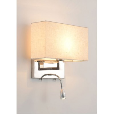 Wall Headboard Lamp with Adjustable LED Reading Light